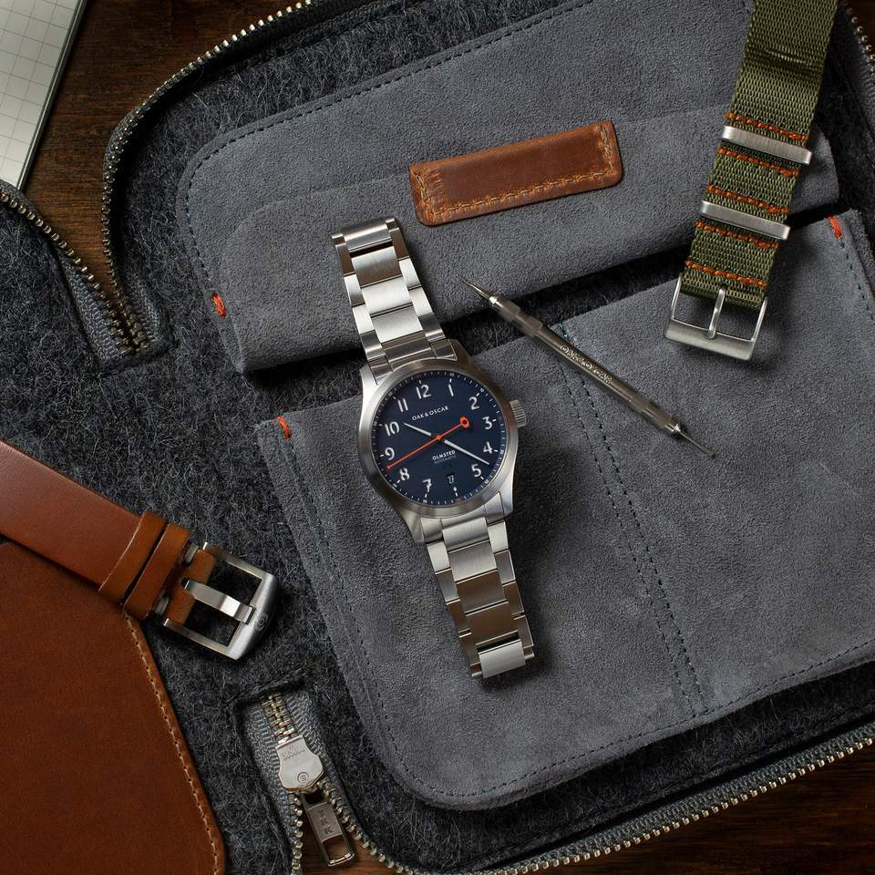 Oak & Oscar The Olmsted with a navy dial