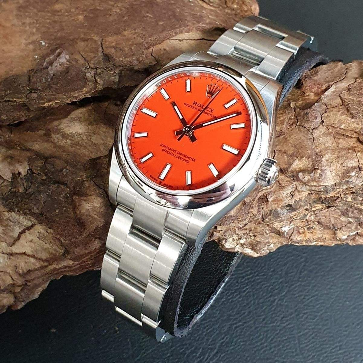 Rolex Oyster Perpetual in coral red