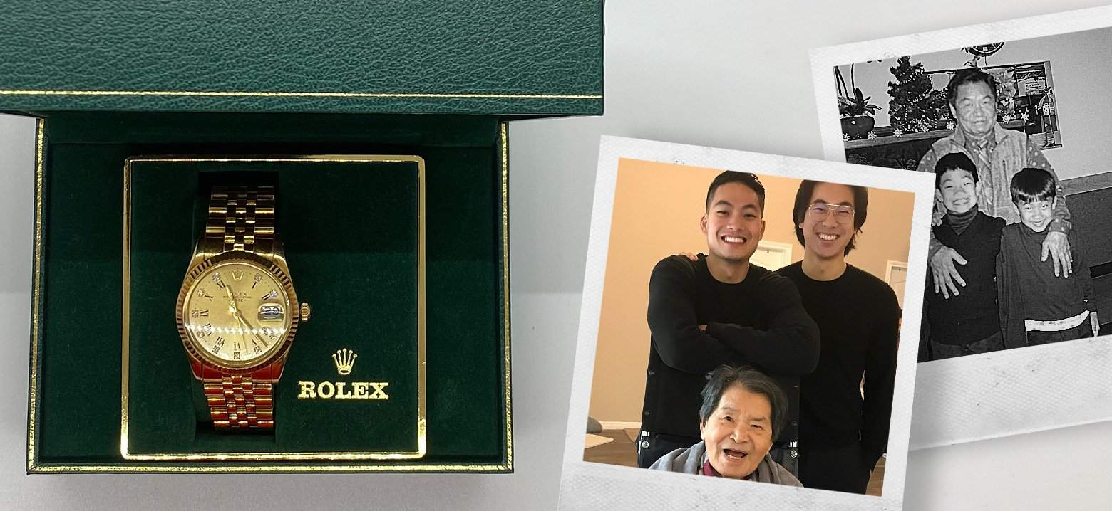 Eric's grandfather's memory lives on forever in his Rolex watch.
