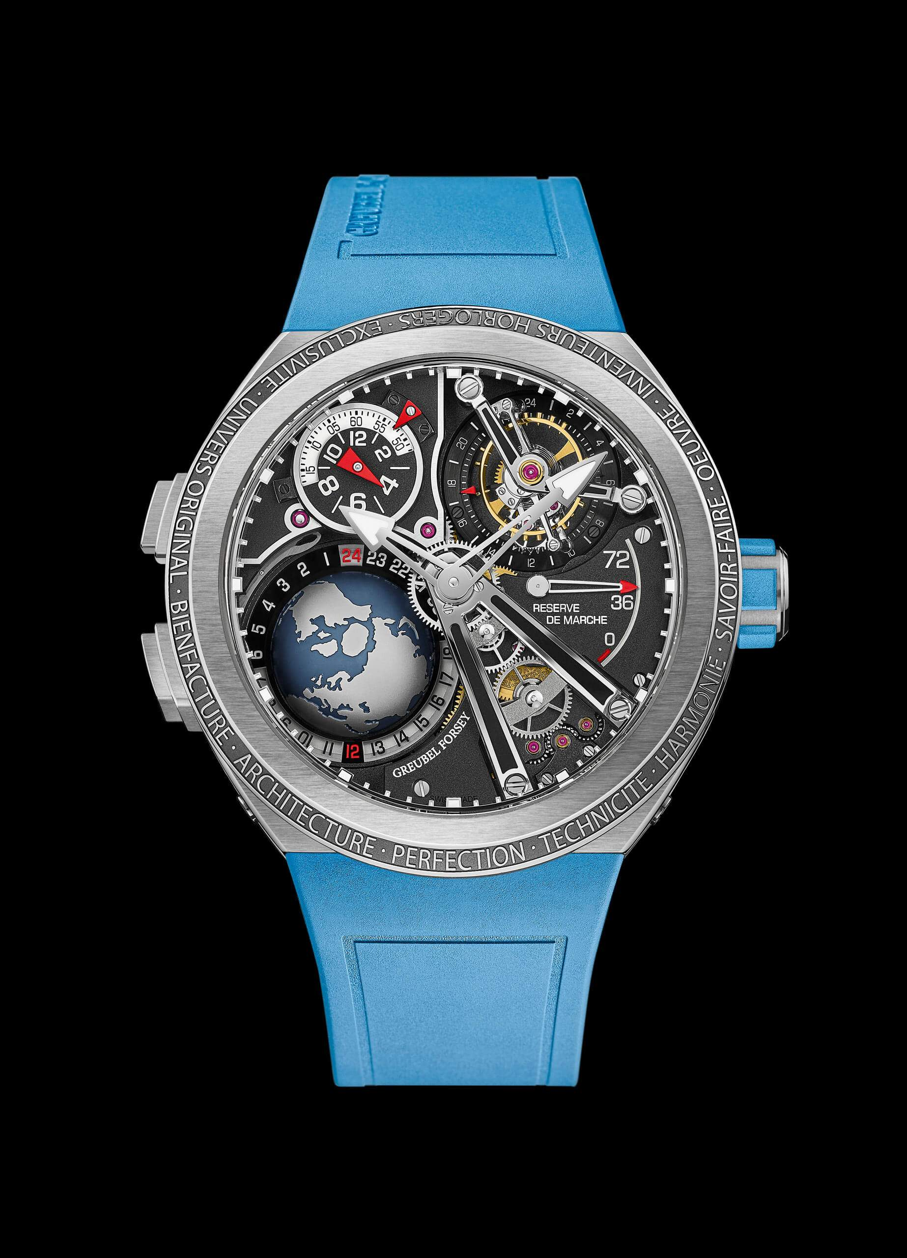 The new Greubel Forsey GMT Sport is full of interesting details, including a 3D globe between 7 and 9 o'clock.