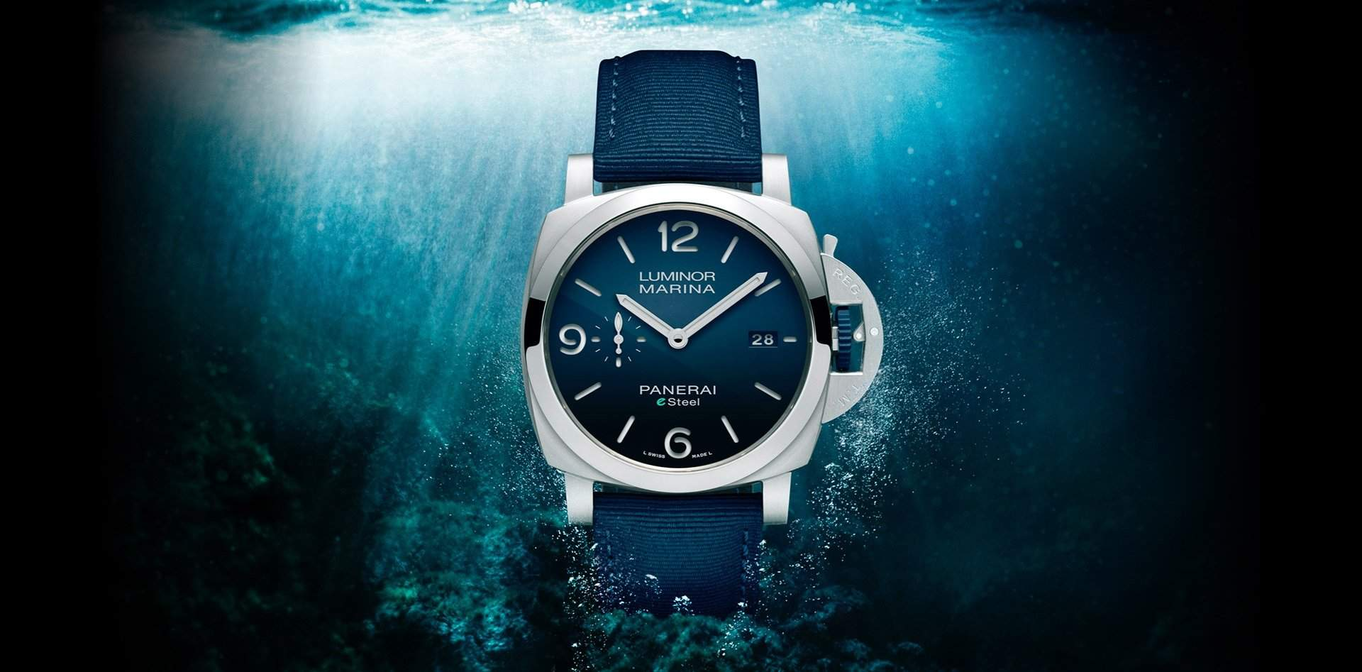 The Panerai Luminor Marina eSteel: more affordable but also made of recycled materials.