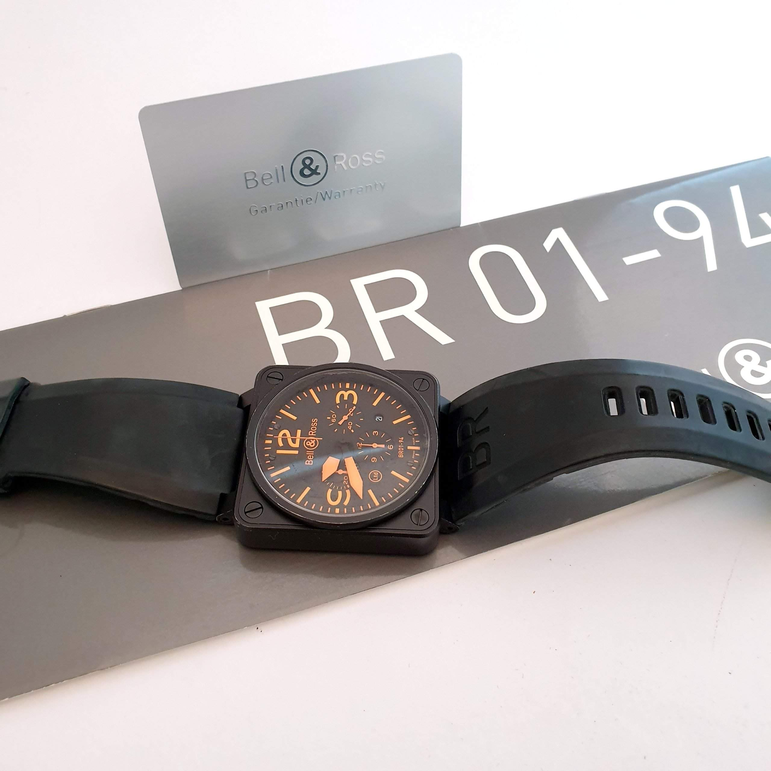 A true eye-catcher: the Bell & Ross BR 01-94 with orange hands and indices.