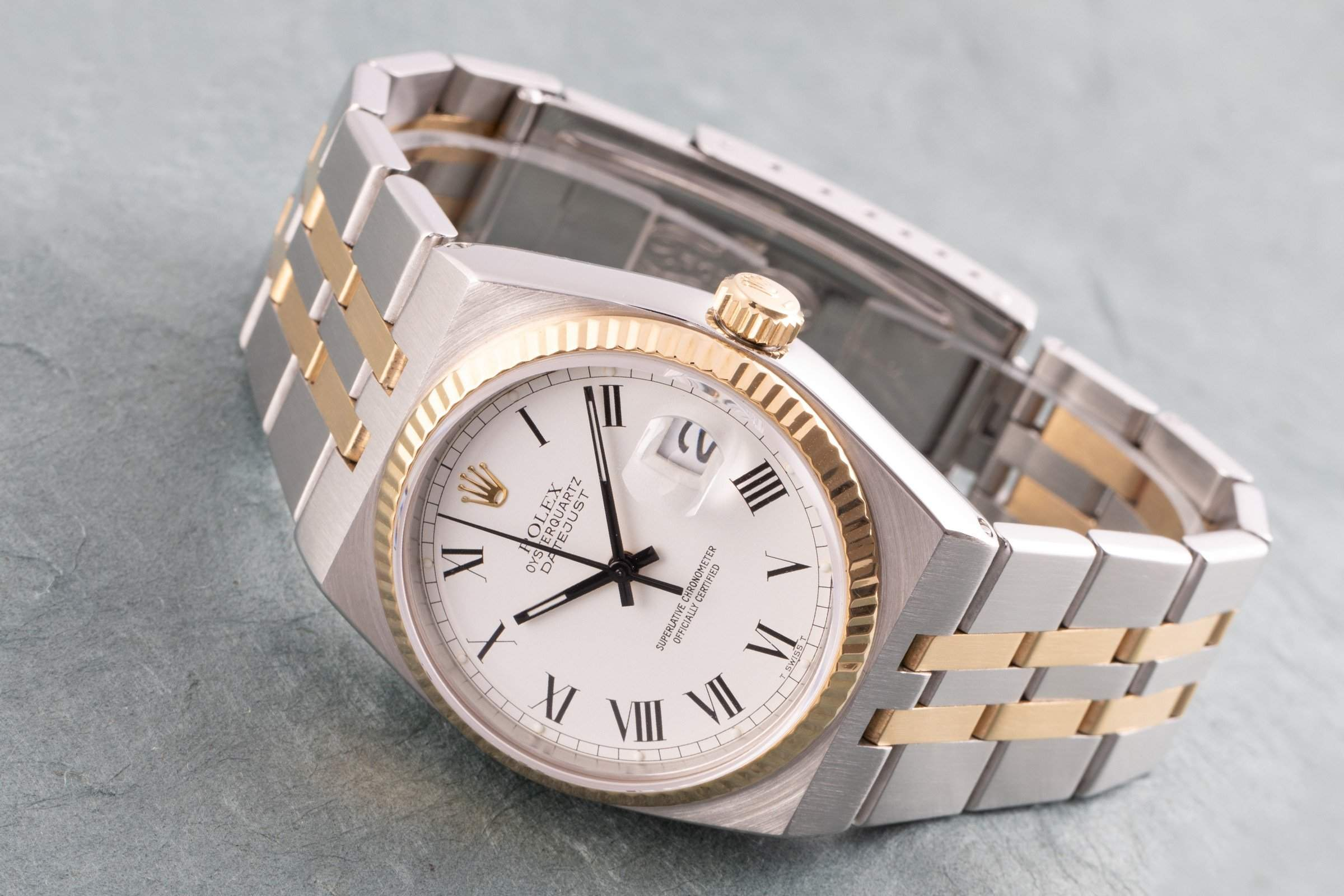 The exotic choice among Rolex watches: The Datejust Oysterquartz offers a quartz movement and a rather unusual design for Rolex.