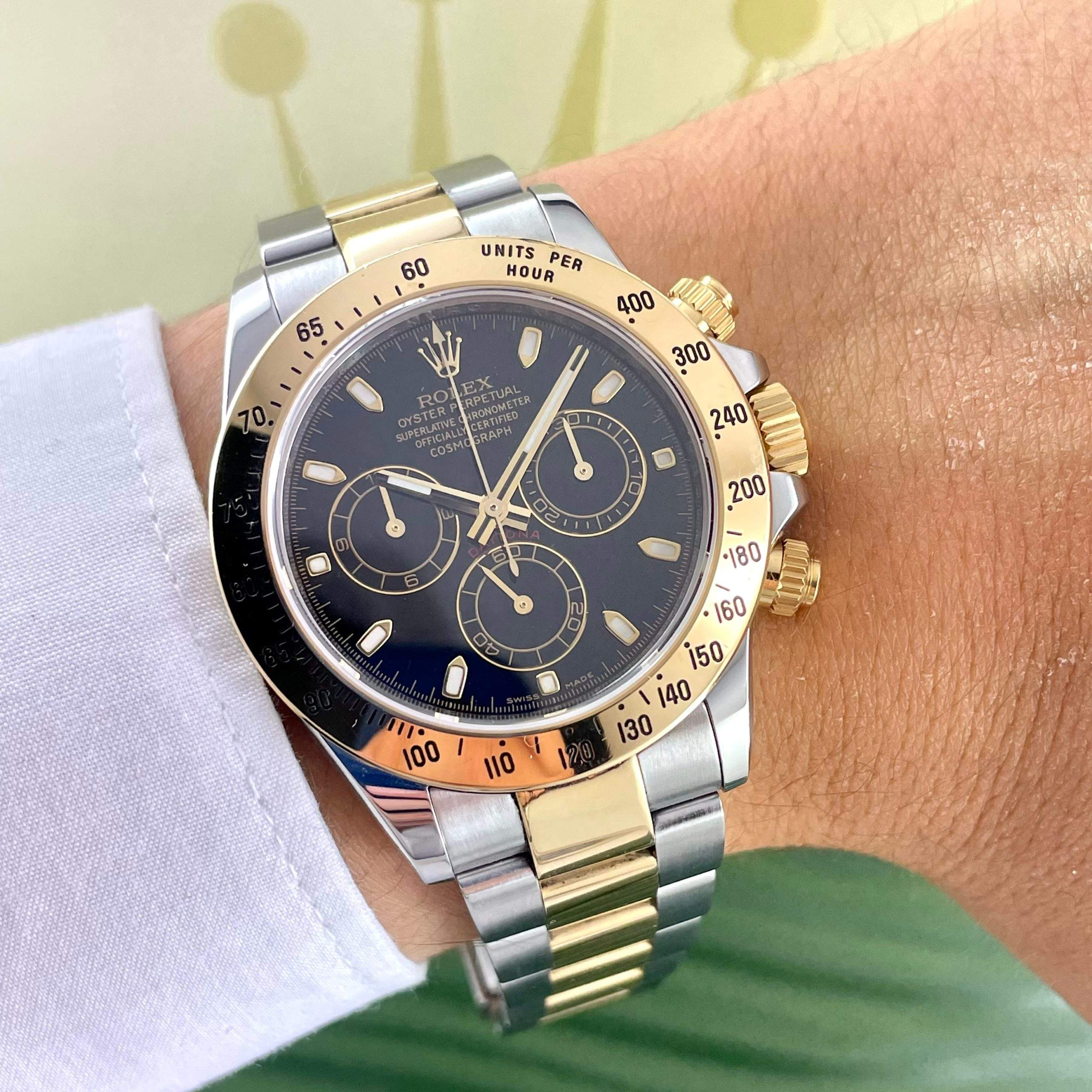 Elegant and eye-catching: the two-tone Daytona ref. 116523 with a black dial
