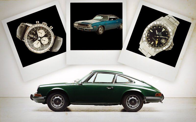 Vintage Cars and Vintage Watches collage